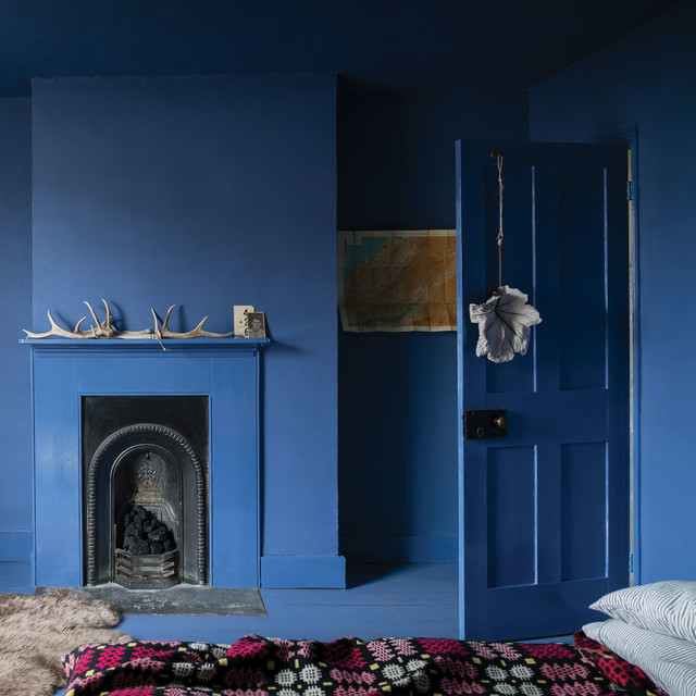 A bedroom painted in Pitch Blue No.220 by Farrow & Ball - Eclectic ...