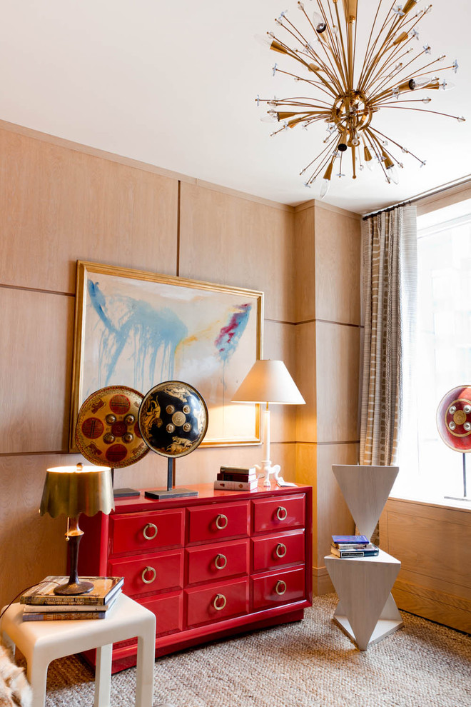 Example of a trendy carpeted bedroom design in New York