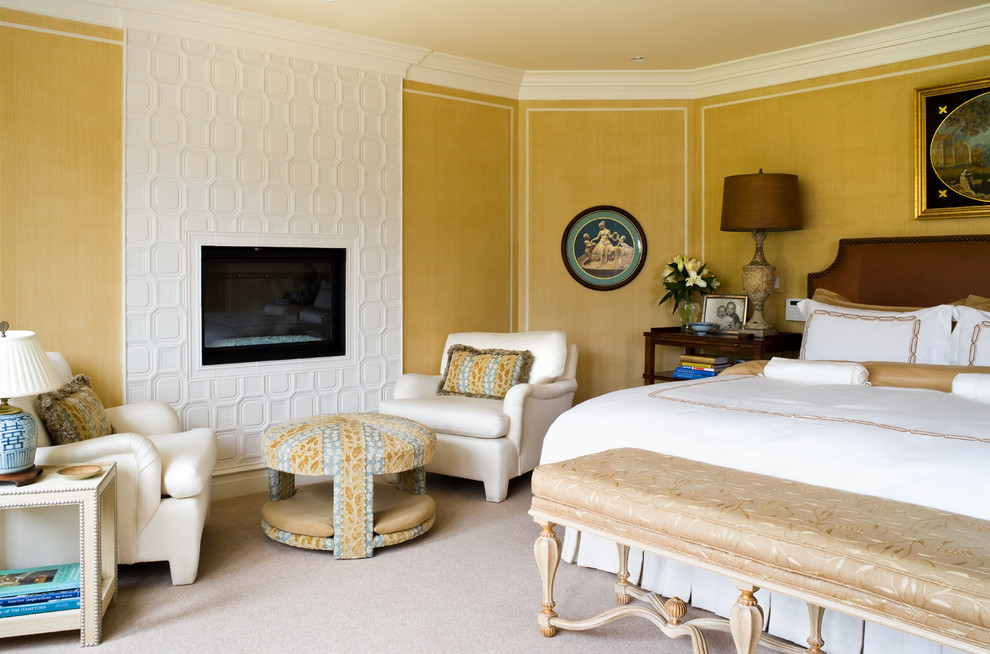 Inspiration for a timeless bedroom remodel in DC Metro with yellow walls