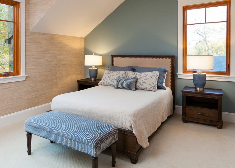 Example of a transitional carpeted and beige floor bedroom design in Baltimore with blue walls