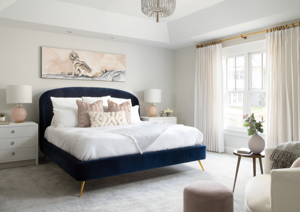 Inspiration for a large modern master carpeted and gray floor bedroom remodel in DC Metro with gray walls and a two-sided fireplace