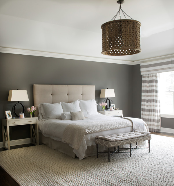 Mid-sized transitional master dark wood floor and brown floor bedroom photo in DC Metro with gray walls and no fireplace