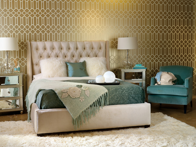 Example of a transitional bedroom design in Houston with green walls. Bedroom In Teal And Gold   Houzz