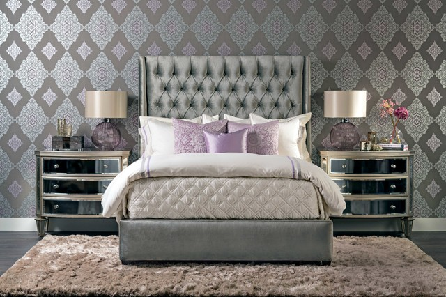 High Fashion In Houston amelia bed luxury in lavender eclectic bedroom houston