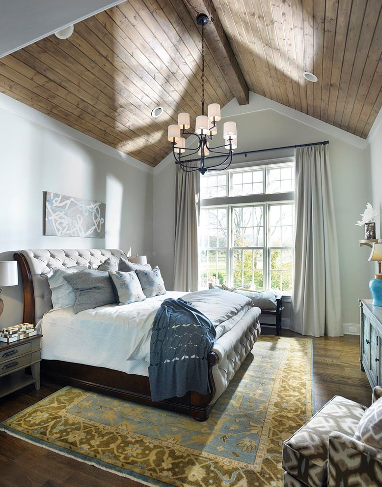 Inspiration for a mid-sized french country master dark wood floor bedroom remodel in Nashville with gray walls and no fireplace