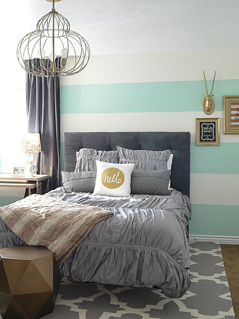 An Aqua Gold And Gray Guest Bedroom Transitional