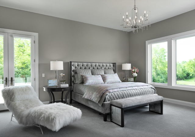 Inspiration for a transitional carpeted and gray floor bedroom remodel in Detroit with gray walls