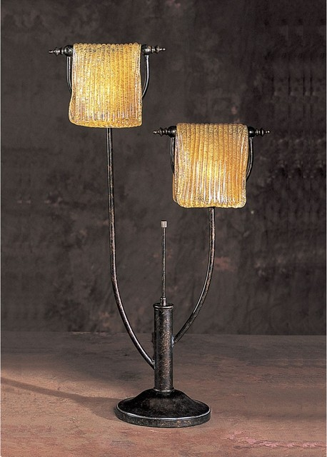 Anthony California Metal Table Lamp With 2 Lights Traditional Bedroom Los Angeles By Adarn