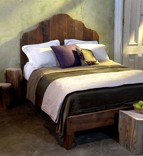 Antique Pine Reclaimed Wood Bed Frame Traditional