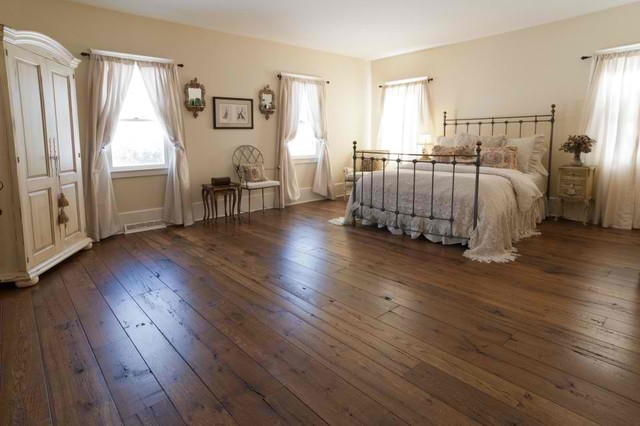 Antique resawn oak hardwood flooring traditional for Hardwood floors in bedrooms