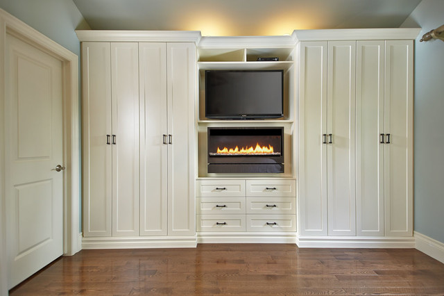 Antique White Wall Unit Contemporary Bedroom