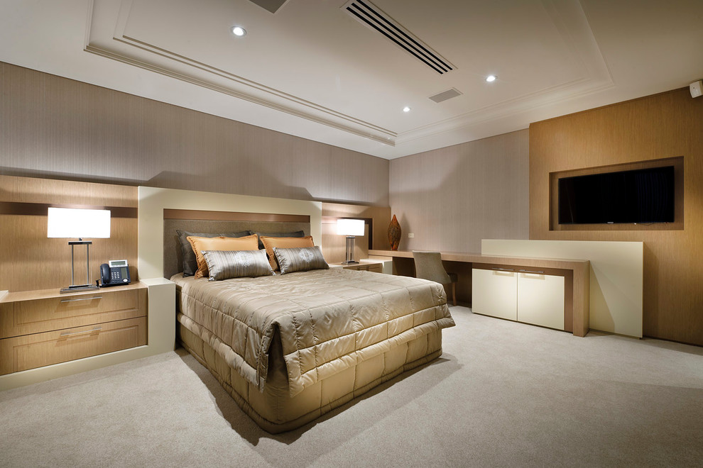 Trendy master carpeted bedroom photo in Perth with gray walls