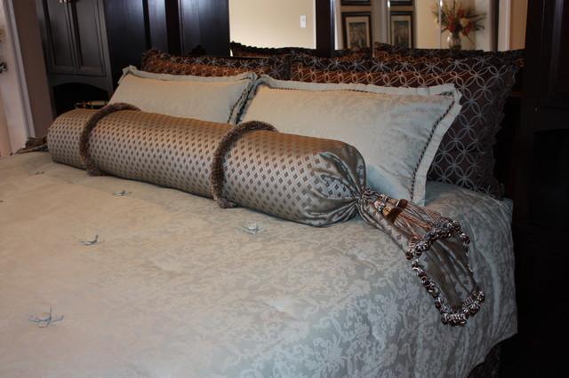Aqua and Brown Bedroom traditional-bedroom