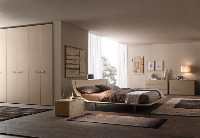 Aqua bedroom set with ice nightstands and dresser by presotto contemporary bedroom