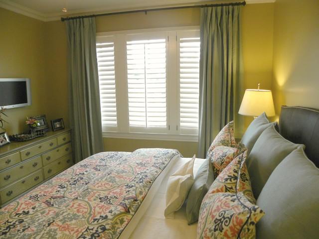 aqua curtain panels and vivid damask bedding  traditional, Bedroom decor