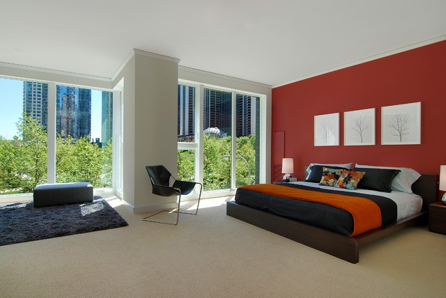 Inspiration for a modern carpeted bedroom remodel in Chicago with red walls. Red Wine Color Bedroom   Houzz