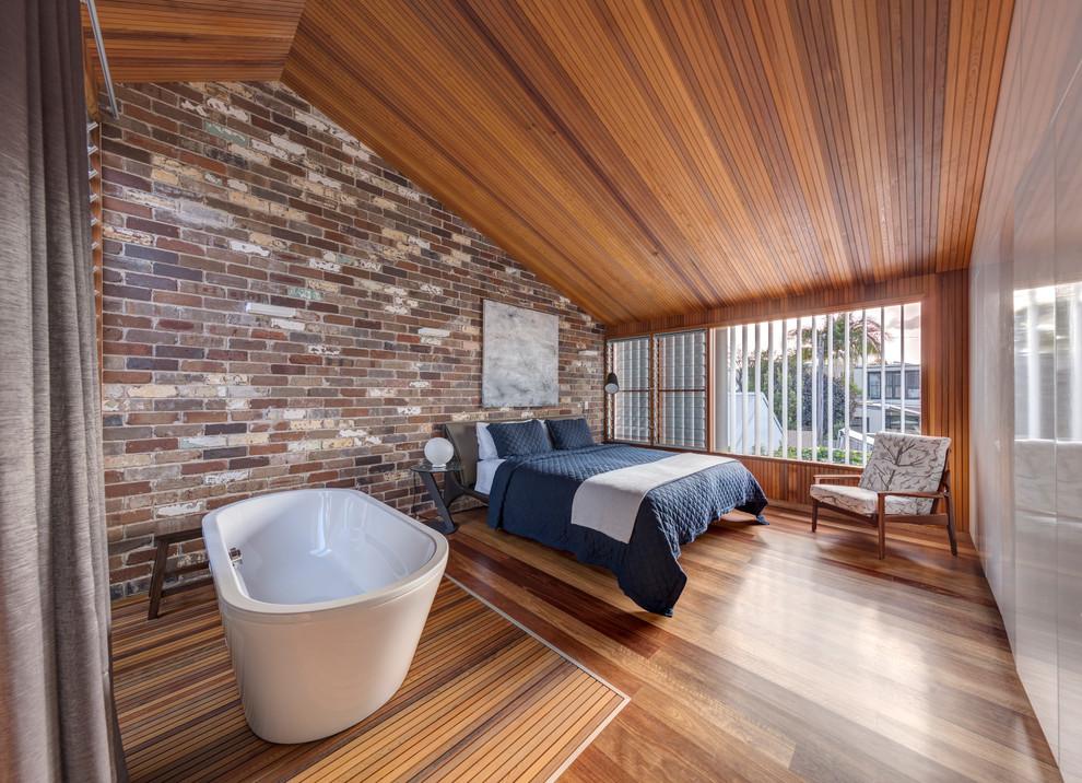 Bedroom - contemporary master marble floor bedroom idea in Sydney