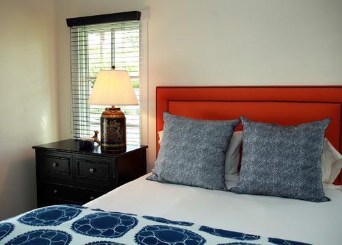 cabecera de cama color naranja
