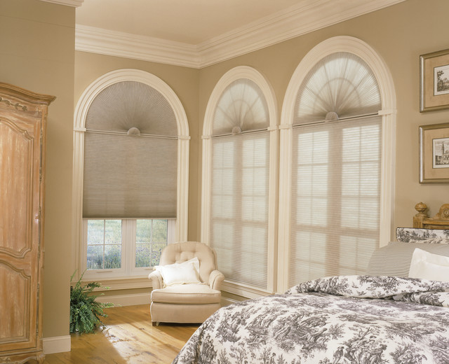 Arch shades for half moon windows contemporary bedroom for Window design arch
