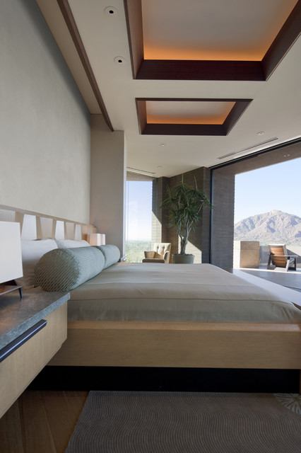 Bedroom - southwestern dark wood floor bedroom idea in Phoenix with gray walls and no fireplace
