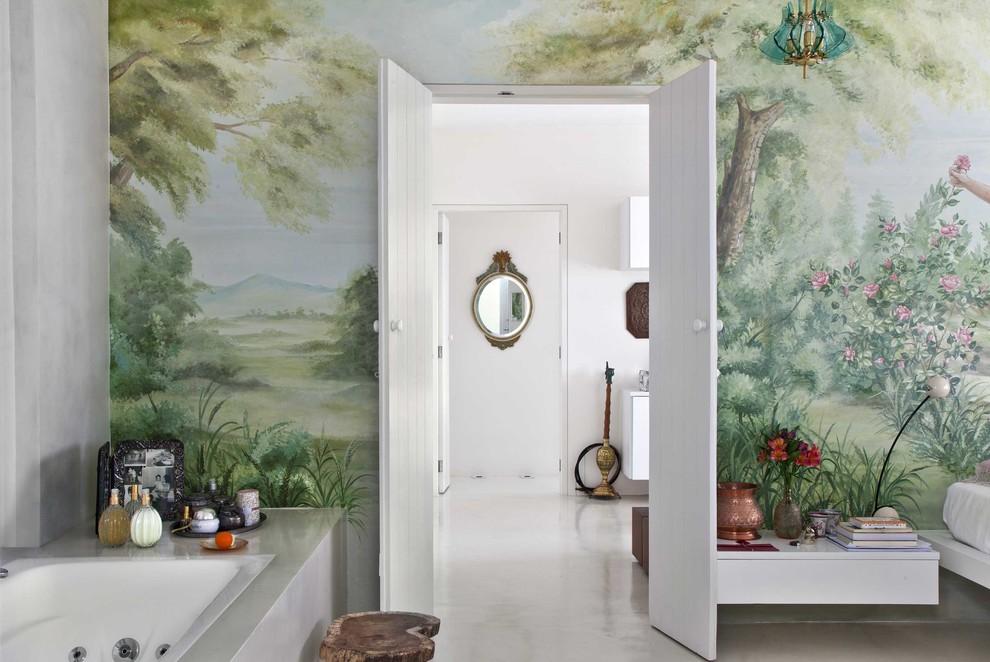 Eclectic concrete floor bedroom photo in Other