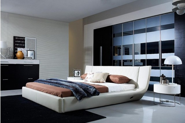 bedroom speakers. Arctic  Modern White Leather Bed With Speakers and Iphone Audio Dock contemporary bedroom