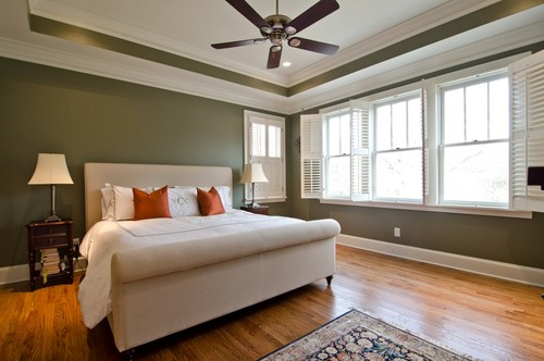 Whats the name of the olive green paint on the walls Master bedroom with green walls