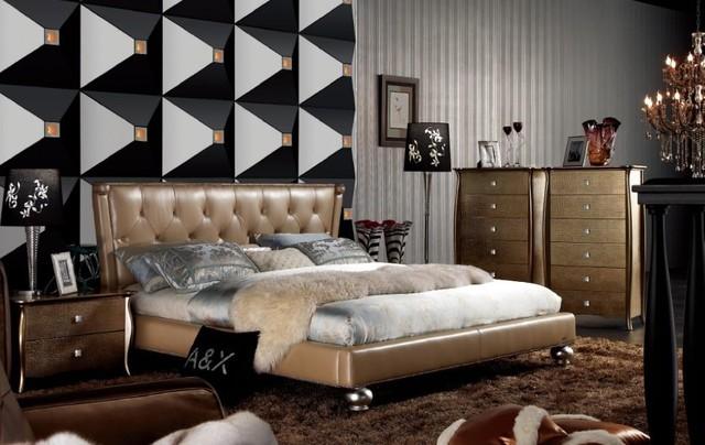 Armani Xavira Champagne Italian Top Leather Bed With Tufted Headboard Sovremennyj Spalnya Los Andzheles Ot Eksperta Eurolux Furniture Houzz Rossiya