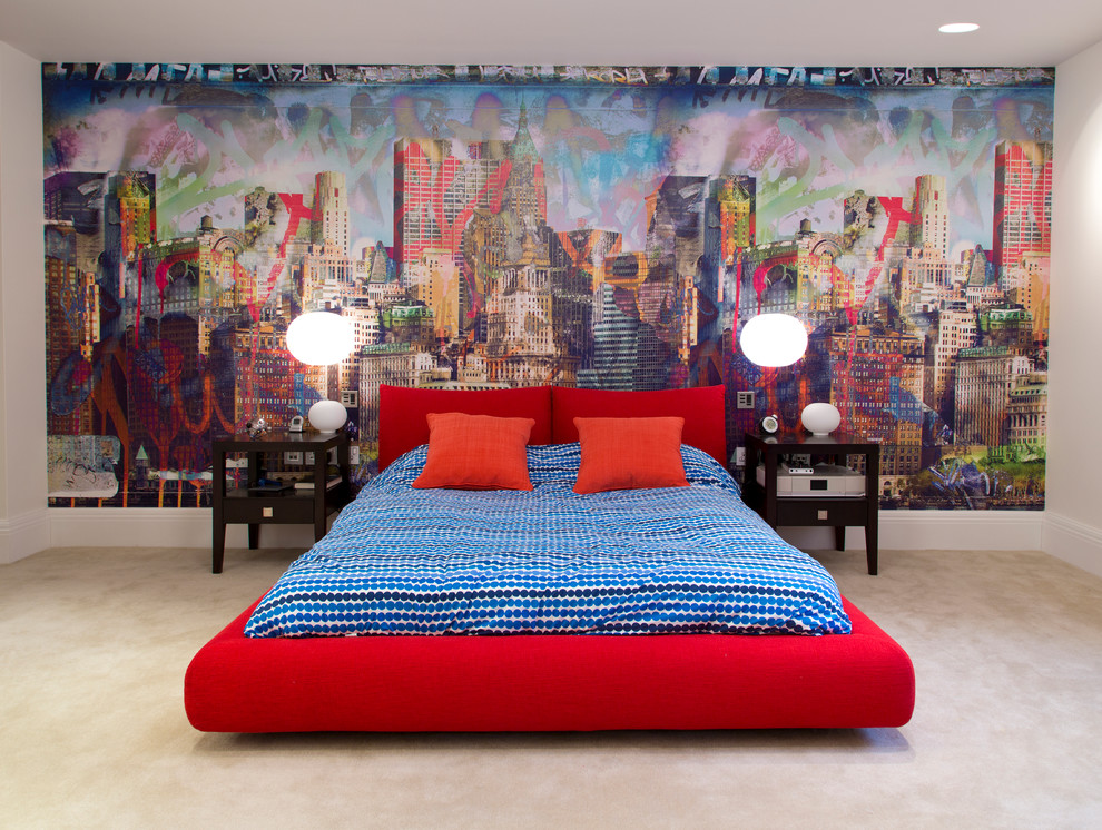 Trendy carpeted bedroom photo in Cheshire with multicolored walls