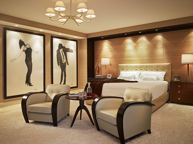 Large Trendy Master Carpeted Bedroom Photo In Miami With Beige Walls