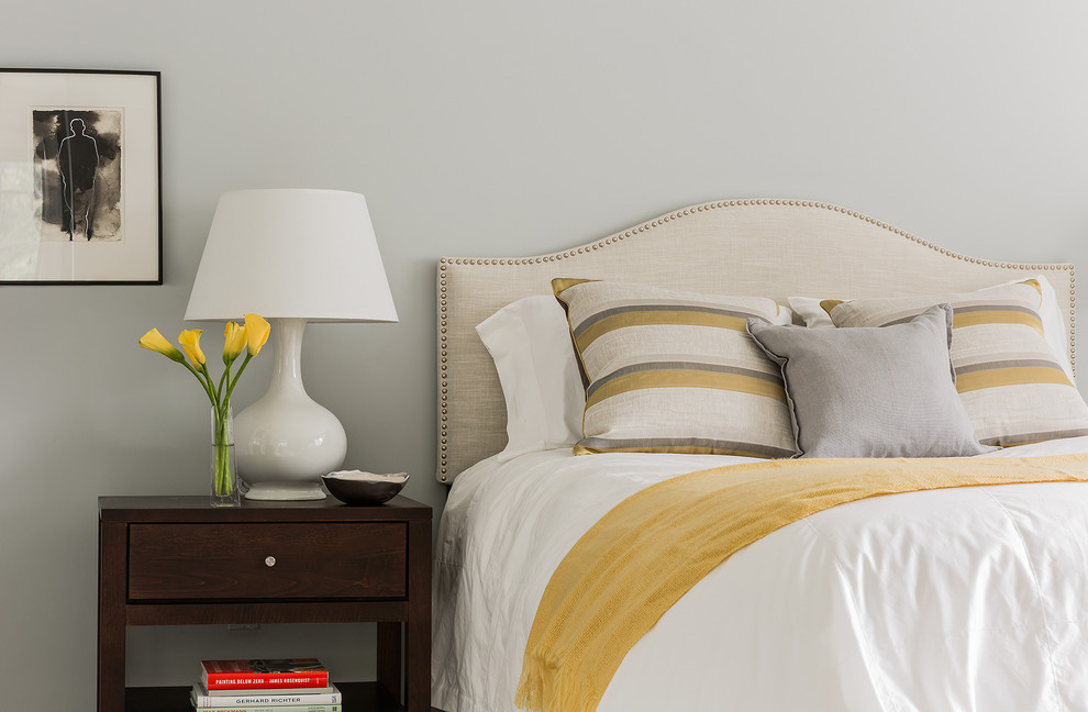 Mid-sized elegant guest carpeted bedroom photo in Boston with gray walls