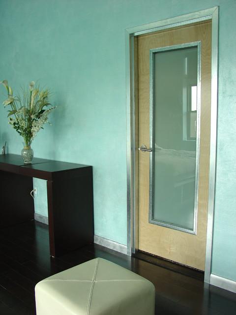 arteriors aqua pearlescent metallic paint finish contemporary bedroom