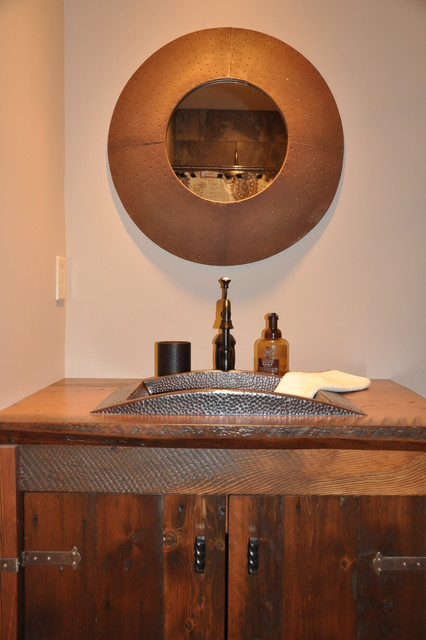 Copper Bath Sink With Recycled Wood Countertop Rustic Bathroom Sinks