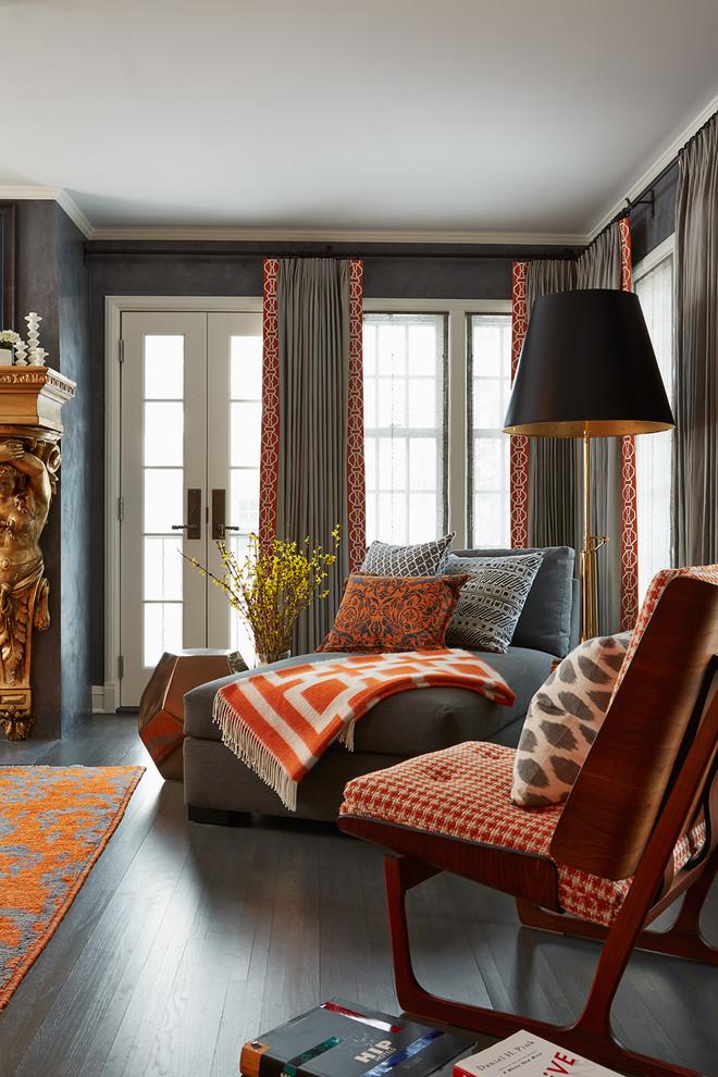 Bedroom - large contemporary master dark wood floor bedroom idea in Minneapolis with gray walls