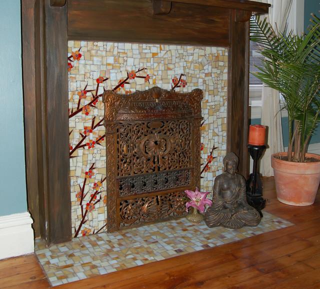 Asain Fireplace Asian Bedroom