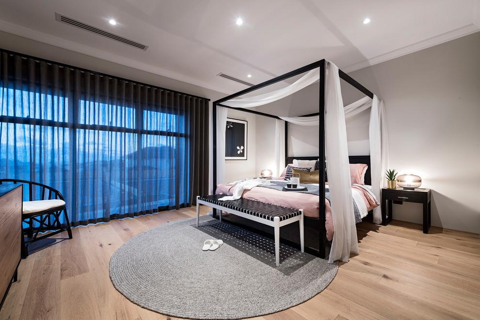 パースのアジアンスタイルの主寝室の画像 (グレーの壁、淡色無垢フローリング、ベージュの床)