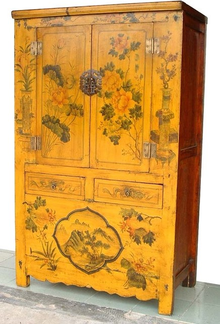 Asian Rare Yellow Lacquered painted flowers Antique Chinese Chinoiserie  Cabinet asian-bedroom - Asian Rare Yellow Lacquered Painted Flowers Antique Chinese