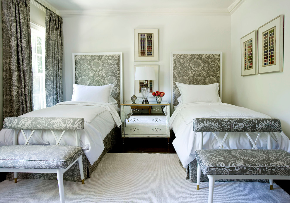 Inspiration for a transitional bedroom remodel in Atlanta with white walls