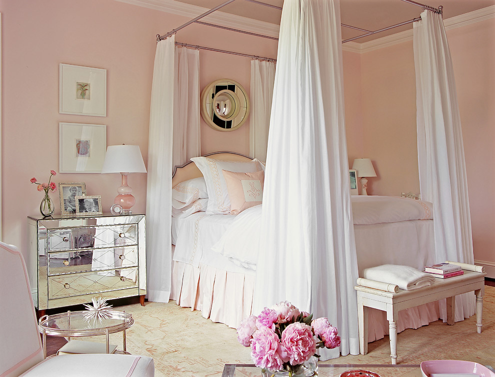 Large transitional master dark wood floor bedroom photo in Atlanta with pink walls