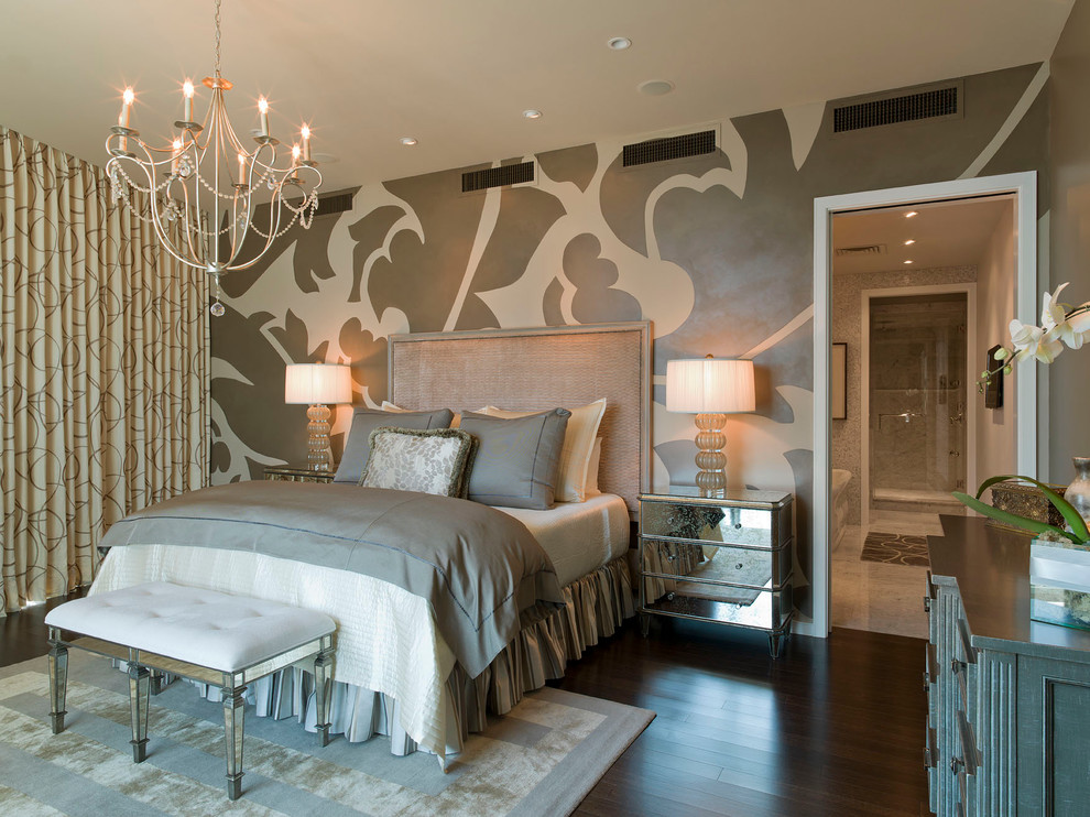 Trendy dark wood floor bedroom photo in Austin with multicolored walls