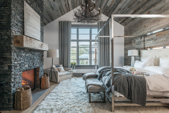 Automated Lighting & Shades rustic-bedroom