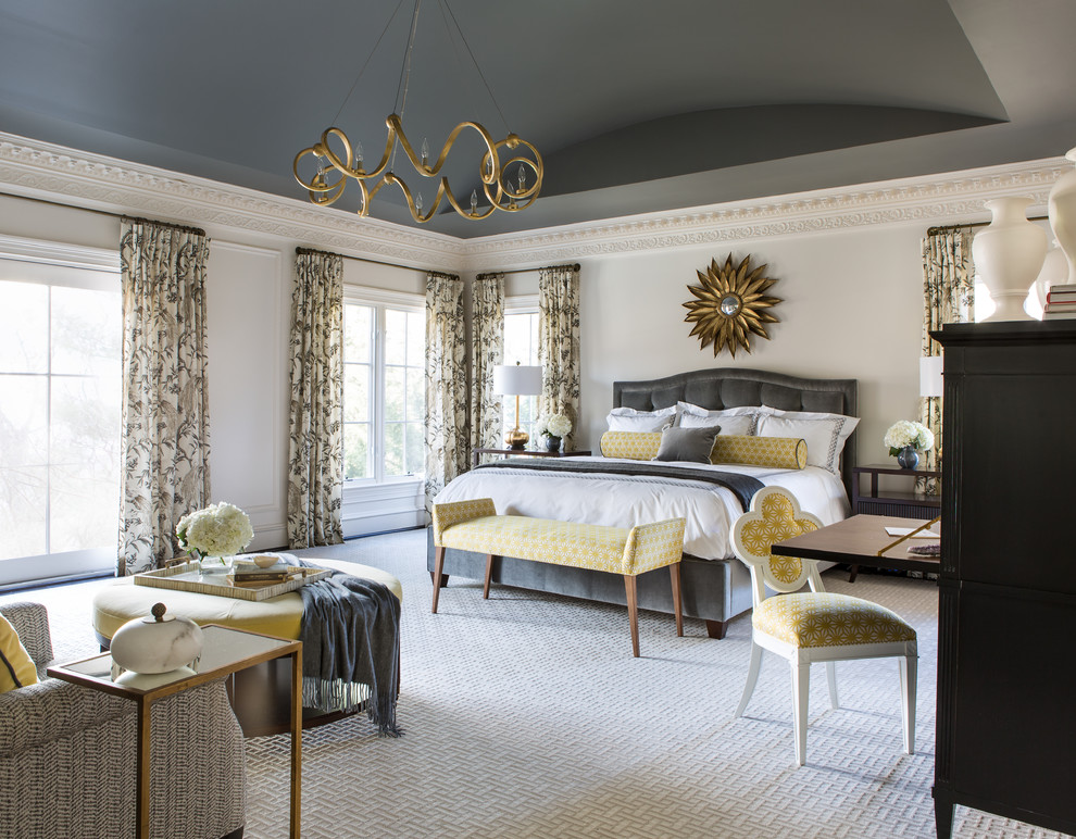 Bedroom - large traditional master carpeted bedroom idea in DC Metro with white walls and no fireplace