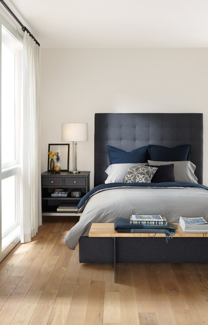 avery bed with tall headboard contemporary bedroom