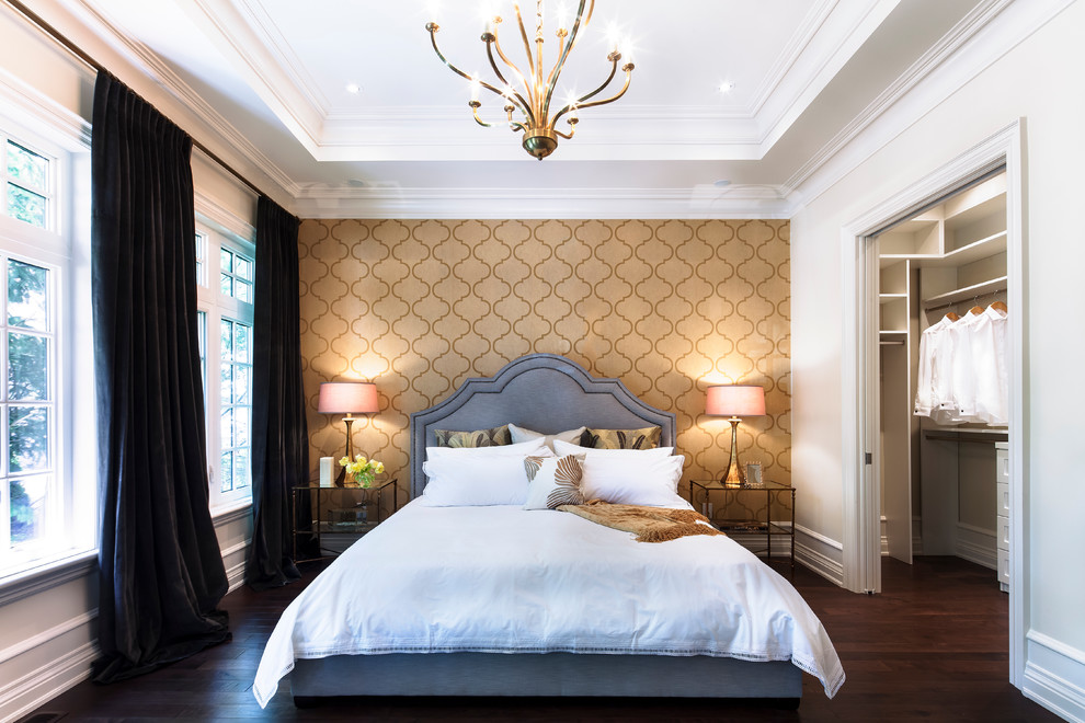 Example of a mid-sized trendy master dark wood floor and brown floor bedroom design in Toronto with multicolored walls and no fireplace