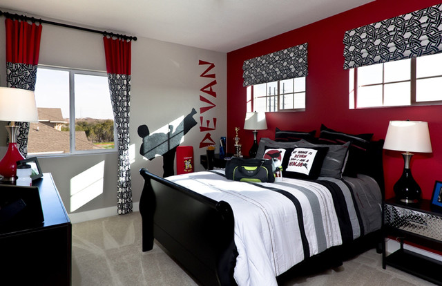 Avonleigh eclectic bedroom austin by david weekley - Entrancing pictures of red black and white teenage bedroom decorating design ideas ...