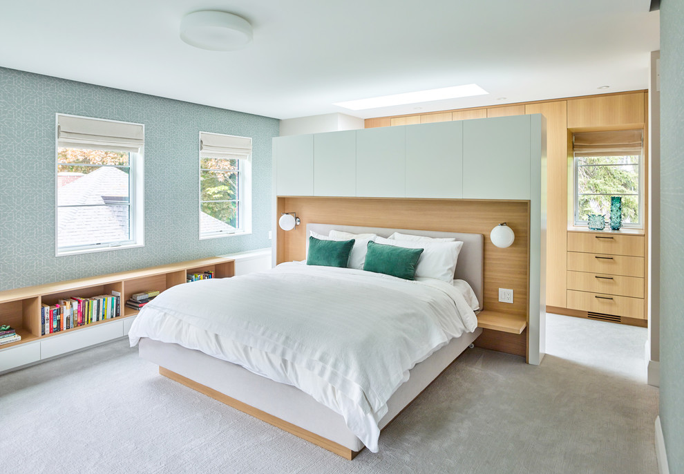 Example of a trendy master carpeted and gray floor bedroom design in Toronto with green walls and no fireplace