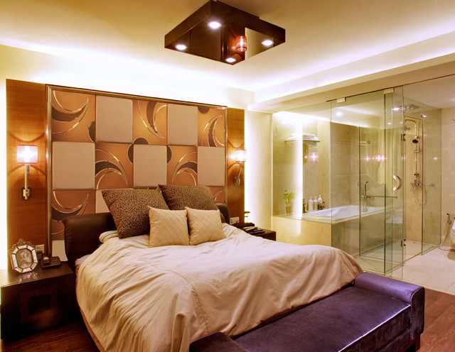 background wallmirror wall tiles Contemporary Bedroom Other
