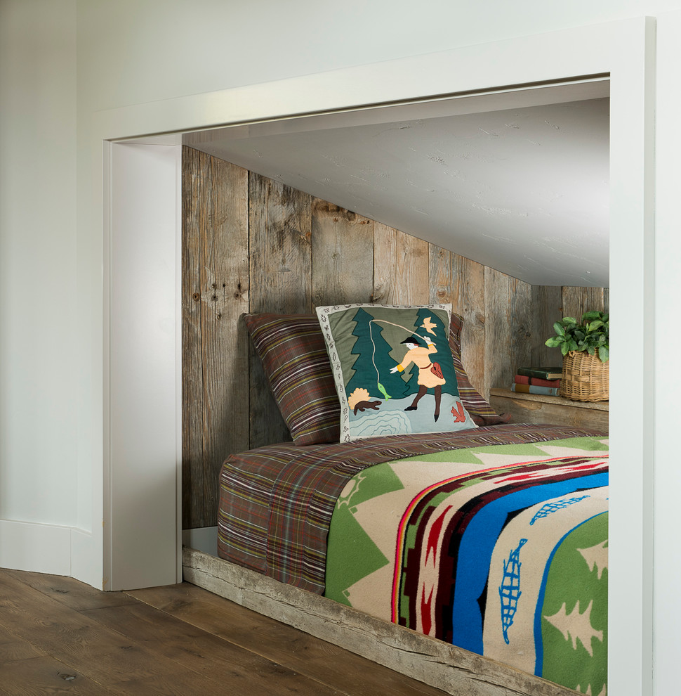 Example of a mountain style dark wood floor bedroom design in Other with white walls
