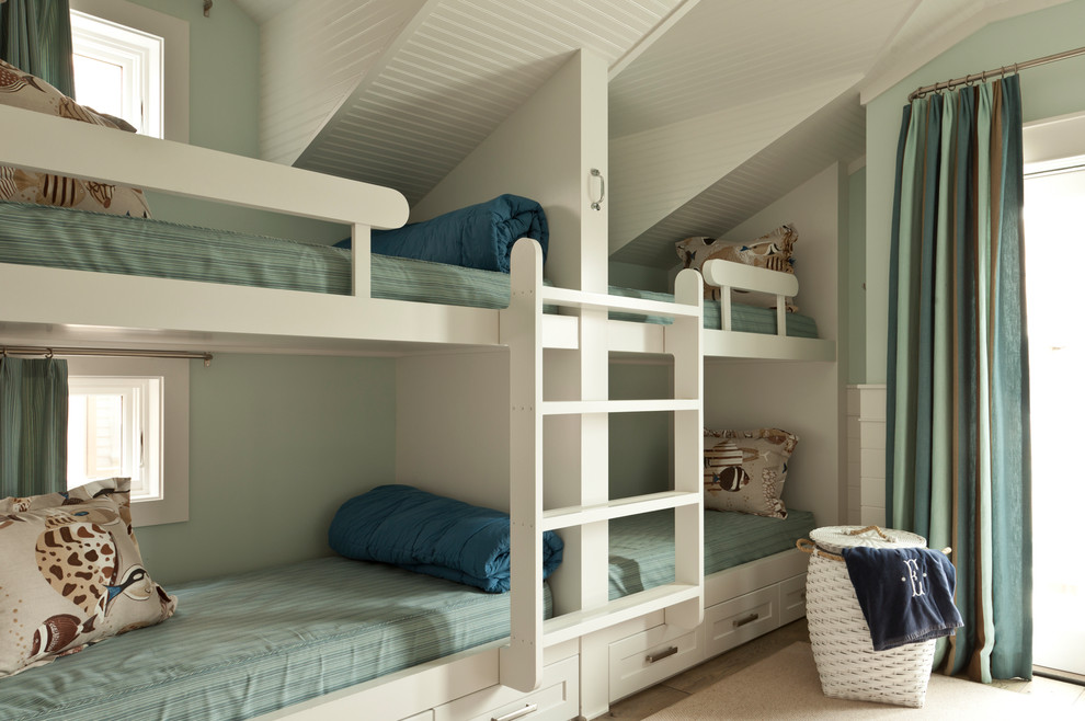 Bedroom - coastal guest bedroom idea in Orange County with green walls and no fireplace