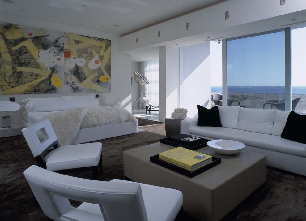 Example of a trendy bedroom design in Orange County with white walls